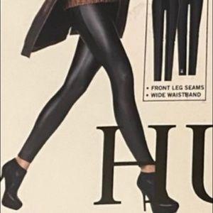 HUE Wide Waistband Leatherette Black Leggings